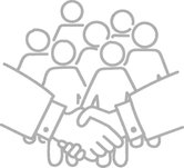 graphic image of a group of people behind a handshake